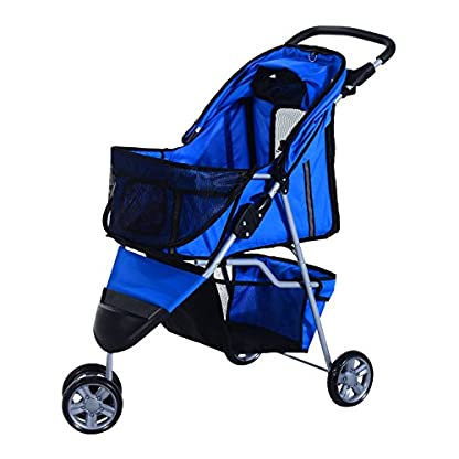 PawHut Pet Travel Stroller Cat Dog Pushchair Trolley Puppy Jogger Carrier Three Wheels (Blue) 2