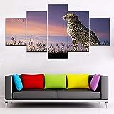 ganlanshu Pintura sin Marco 5 Piezas de Lienzo de Pintura decoración del hogar Sala de Estar Guepardo Animal Print HD decoración Animal Mural Lienzo Arte ZGQ5446 30x40cmx2, 30x60cmx2, 30x80cmx1