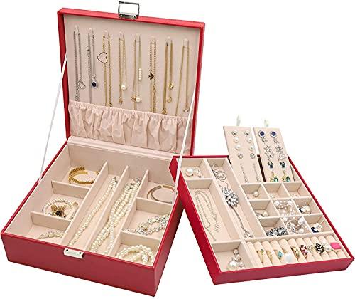 Recet Joyero portátil, caja de joyas extraíble, 2 capas con espejo, para pendientes, anillos, joyas, collares (rojo)