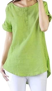 Women Summer Casual Short Sleeve Loose T Shirt Cotton Linen Blouse Tops
