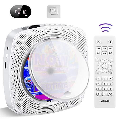 Tragbarer CD Player, an der Wand montierte Home Audio Bluetooth Boombox, HiFi Lautsprecher, FM Radio, USB MP3 Musikplayer, 3,5 mm Kopfhöreranschluss AUX, Geschenke für Kinder
