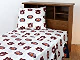 College Covers Auburn Tigers Printed Sheet Set, Full, White