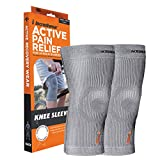 Incrediwear Knee Sleeve Anti-Inflammatory Recovery and Performance Wear Knee Brace Grey, Large (1 Pair)
