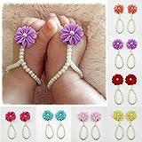 Hinzonek Accesorios para Fotos de Zapatos de Perlas de Flores para Bebés...