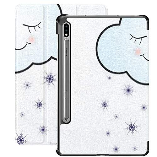 Funda para Galaxy Tab S7 Funda Delgada y Liviana con Soporte para Tableta Samsung Galaxy Tab S7 de 11 Pulgadas Sm-t870 Sm-t875 Sm-t878 2020 Release, Cute Happy Cloud Snowflakes Print Icon