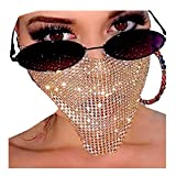Barode Sparkly Rhinestone Mask Chain Crystal Metal Masquerade Masks Ball Party Nightclub Face Necklace Venetian Mardi Gras Jewelry for Women and Girls (Gold)