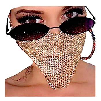 Barode Sparkly Rhinestone Mask Chain Crystal Metal Masquerade Masks Ball Party Nightclub Face Necklace Venetian Mardi Gras Jewelry for Women and Girls  Gold
