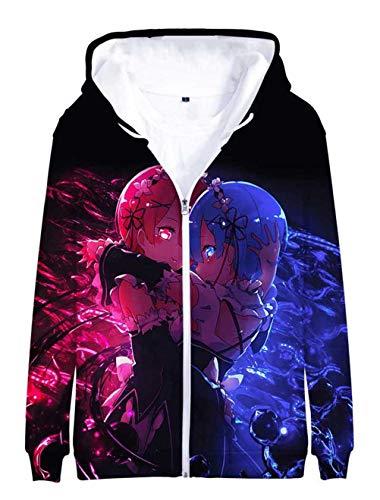 Cosstars Anime Life in a Different World from Zero 3D Druck Hoodie Jacket Cosplay Kostüm Zip Kapuzenpullover Sweatjacke Outwear Mantel 3 XXXL