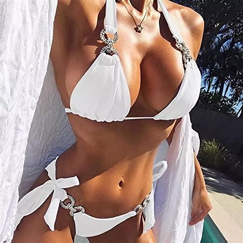 XuuuuLianbjn Bikini, Bandeau Bikinis Mujeres Rhinestone Traje de baño Traje de baño Playa Desgaste de la Playa baño de natación (Color : White, Size : L)