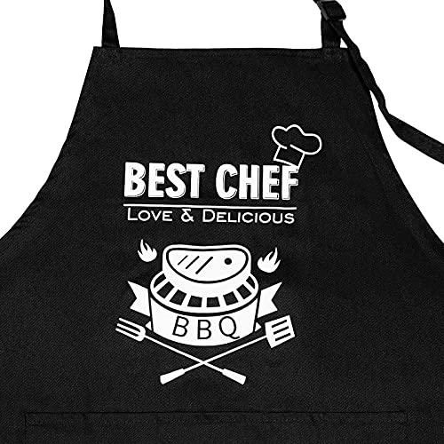 Delantal Cocina Hombre, Delantal Cocina Mujer, Delantales de cocina Ajustable con 3 Bolsillos para Cocinar, Cocina, Jardinería, Hornear, BBQ, Barbacoa, Chef, Restaurante