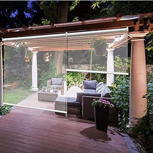 Jcnfa - Cortina enrollable impermeable de PVC transparente, resistente al viento, protección UV, para balcón, jardín o patio (tamaño: 145 x 260 cm)