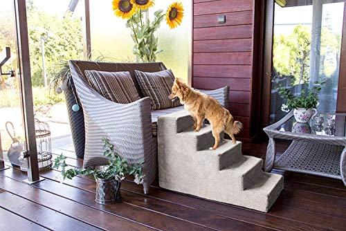 BoutiqueZOO Hundetreppe 50 cm hoch | Katzentreppe Haustiertreppe | 5 Stufen | Hunde Katzen Haustier | für Bett und Auto | Trepp für kleine Hund | Plüschbezug | Farbe: Dunkelbeige