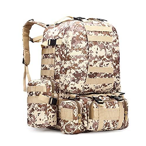 Nicebags - Zaino da escursionismo e alpinismo, con combinazione di grande capacità, impermeabile, con borsa da uomo, colore: Desert Digital)