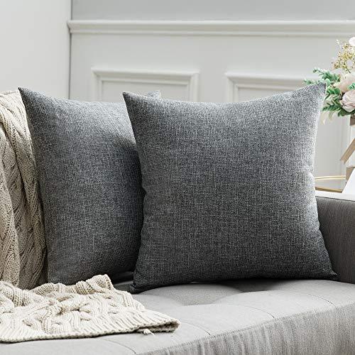 MIULEE 2er Pack Leinenoptik Home Dekorative Kissenbezug Kissenhülle Kissenbezug für Sofa Schlafzimmer mit Reißverschlüsse, 50x50 cm Hellgrau