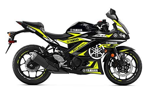 Motostick Graphics Kit de calcomanías compatible con R3 2019-2021 'Motosport' (amarillo neón)