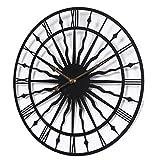 WWSC Reloj De Pared, Silencioso, Hierro Forjado, Relojes Redondos, 50 Cm. Reloj De Pared Moderno Y Elegante. - Reloj Seguro Black-50cm