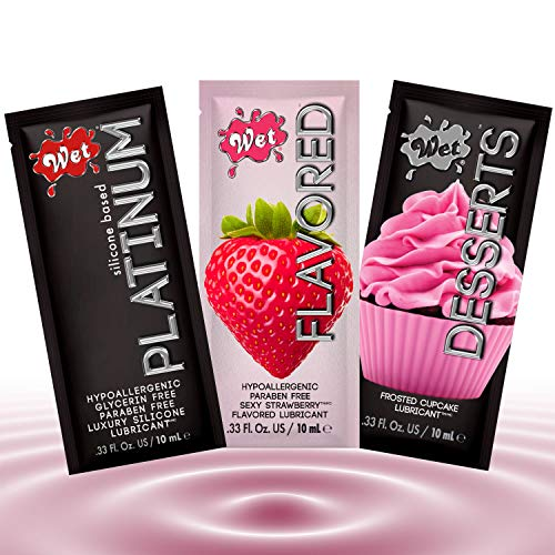 Wet Sampler Warming Fun Flavors Bundle Lube, Premium Personal Lubricant, 1 Ounce 5-Pack, Oral Edible Heating Fruit Flavored Lubes for Men, Women and Couples