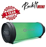 Woozik Rockit Mini Portable LED Bluetooth Speaker, Wireless Boombox with Lights, FM Radio, Indoor/Outdoor with Aux and USB Support
