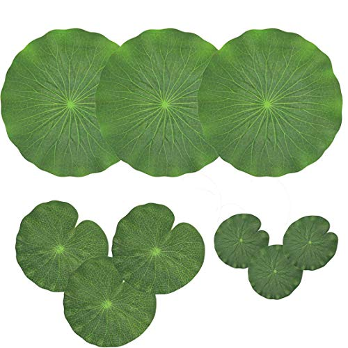 TOOGOO Pack Of 9 Artificial Floating Foam Lotus Leaves Water Lily Pads Ornaments Green | Perfect for Patio Koi Fish Pond Pool Aquarium Home Garden Wedding Party Special Event Decoration