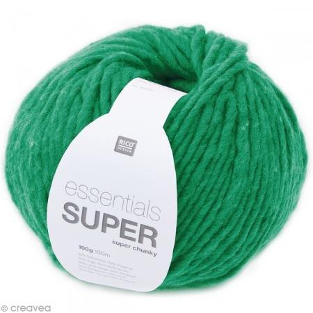 Rico Design Wolle zum Stricken: rico creative essentials super super chunky Farbe 006 smaragd, grün, 100 gr 100m, 50% Schurwolle, 50% Polyacryl