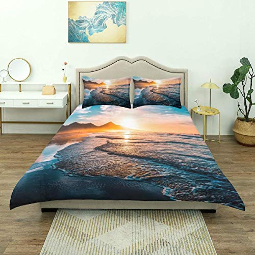 Yaoni Duvet Cover,Ocean Waves Beach Sand Seaside Sunset Theme, Bedding Set Comfy Lightweight Microfiber