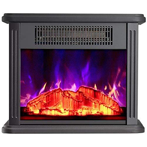 GPWDSN Professionelle Elektroherdheizung mit Holzofenflammeneffekt mit Einstellbarer Thermostatsteuerung Wohnzimmerboden stehend 750 1500W Heizung schwarz