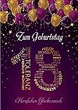Elegante Glückwunschkarte Geburtstag einzigartig Geburtstagskarte A5 mit Nummer und Glückwünschen