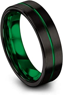 Tungsten Carbide Wedding Band Ring 6mm for Men Women Green Red Blue Purple Copper Fuchsia Teal Black Center Line Flat Cut Black Brushed Polished