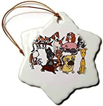 weewen All Smiles Art Pets Funny Artistic Cute Pet Rescue Abstract Art Dogs Cats Snowflake Porcelain Ornament Decorative Xmas Ornament 2018 Farmhouse Collectible Keepsake