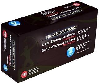 Dynarex 2323 Black Latex Exam Gloves, Powder-Free, Large (Pack of 100)