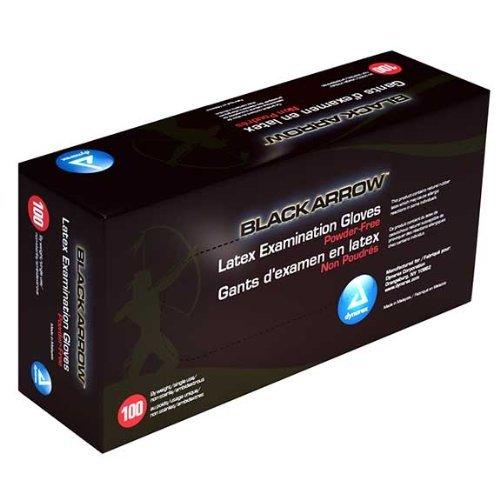 Dynarex Black Latex Exam Gloves, Powder-Free, Large, Box/100