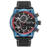 MEGIR Herren Uhren Militär Schwarz Leder Armband mit Blau und Rot Chronograph Kalender Wasserdicht Leuchtend 2104G