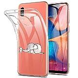 Alsoar Compatible para Funda Samsung Galaxy A20E Carcasa Silicona TPU Suave Transparente Anti-Choque Protector Caso Patrón Lndo Ultra-Delgado Anti-arañazos Caja Case Cover (Elefante de Conejo)