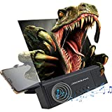 DRIDOUAM 12' Anti-Blue Light HD Phone Screen Magnifier with Bluetooth Speaker for Calling/Music, Movies Amplifier Projector with Foldable & Adjustable Stands for Movies, Videos, Gaming