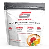 Granite® GX Pre-Workout Supplement (Sour Power) Advanced Formula for Pump, Focus, Energy, Performance | Citrulline, Taurine, Lions Mane, Tyrosine, Teacrine, Betaine, Carnosyn, Creatine | Vegan, USA