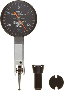 Brown & Sharpe 599-7029-5 Dial Test Indicator Set, M1.4x0.3 Thread, Black Dial, 0-15-0 Reading, 1