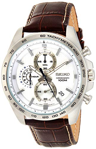 Seiko Herren Analog Quartz Uhr mit Leder Armband SSB263P1