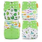 Wenosda 4PCS Pañales de tela para bebés Pañales de bolsillo Pañales reutilizables lavables Inserte el pañal de bolsillo todo en uno para la mayoría niños(Verde claro + Pez + Cactus)