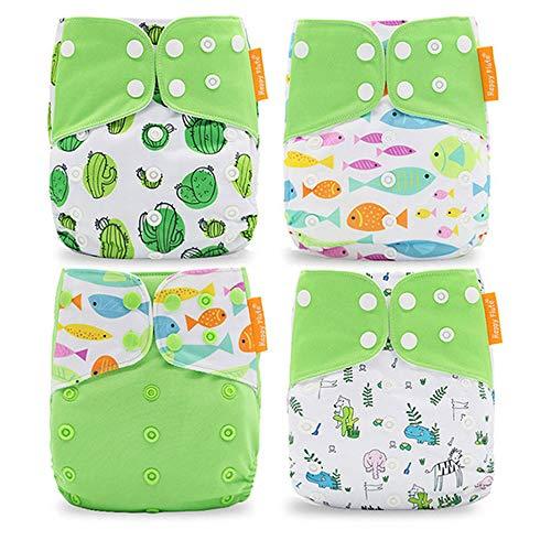 Wenosda 4PCS Baby Taschenwindeln Stoffwindel Waschbare wiederverwendbare Windeln Legen Sie eine All-in-One-Taschenwindel für die meisten Babys und Kleinkinder ein (Hellgrün + Fisch + Kaktus)
