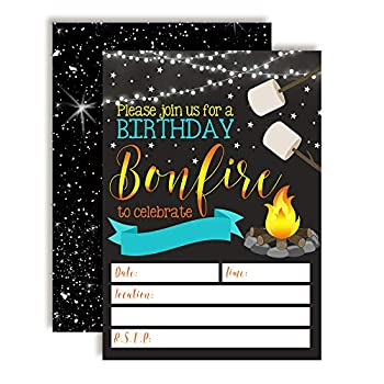 Backyard Bonfire Camping Under The Stars Birthday Party Invitations for Boys 20 5 x7  Fill in Cards with Twenty White Envelopes by AmandaCreation