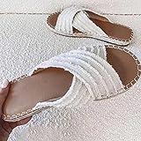 Hwcpadkj Sandalias Mujer Alpargatas Cuña Plataforma Chanclas Playa Zapatillas de Cinturón Cruzado Punta Abierta Tacón Sandalias y Pantuflas Romanas Bohemias,Blanco,42