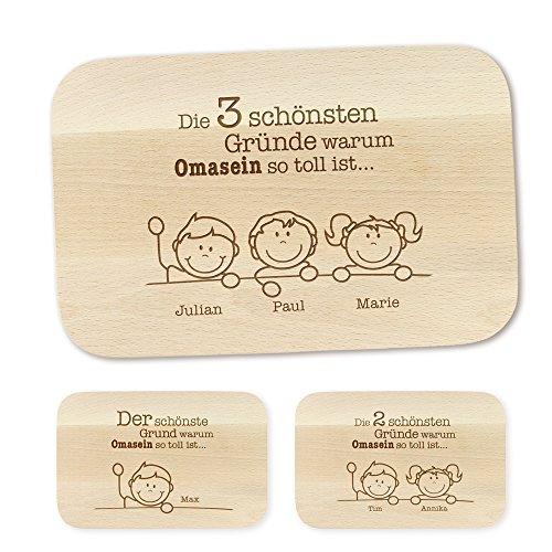 Crazy Kitchen Casa Vivente Frühstücksbrettchen mit Gravur – Gute Gründe – Personalisiert mit Namen – Brettchen aus Ahornholz – Brotbrett aus hellem Holz – Geschenkideen für Oma – Geburtstagsgeschenk