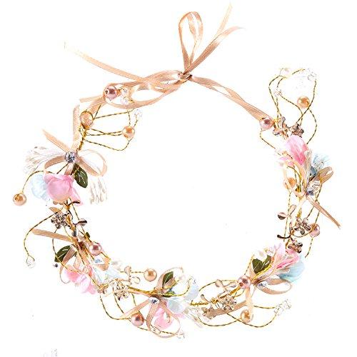 Artfen Handmade Bridal Flower Garland Bow Headband Bridesmaid Children Crown Hair Wreath Halo Adjustable Ribbon Wedding Festivals Party Cosplay
