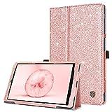 BENTOBEN Funda Compatible Samsung Galaxy Tab A 10.1 2019 Purpurina Libro con Tapa en Cuero de PU con Magnético Resistente Plegable Cover Carcasa para Galaxy Tab A 10.1 SM-T510/T515 2019, Oro Rosa