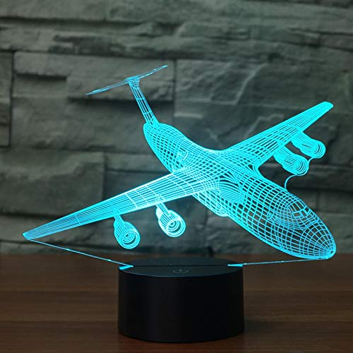 Plane Bomber Acrylic 7Colors Desk Lamp 3D Lamp Novelty Led Night Light Purple