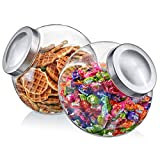 Amazing Abby - Sweet Caroline - 2-Pack 75-Ounce Acrylic Candy Jar with Stainless Steel Lid, Plastic Cookie Jar, BPA-Free and Shatter-Proof, Great for Candy Buffet, Decorative Display, and More