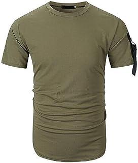 FSSE Men's with Zip Deco Solid Short-Sleeve Casual Roundneck T-Shirt Tee Tops