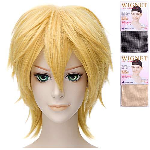 CaseEden (Zaak Eden cosplay pruik Meriodasu Joseph Makoto Mikasa Kagamine Len Kaoru Kurusu Short Mix Goud Blond White Mel Choi pruik Net 2 Pieces