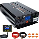 aeliussine 2000 watt Pure Sine Wave Inverter 24v dc to ac 120v with LCD Display with Remote Switch...