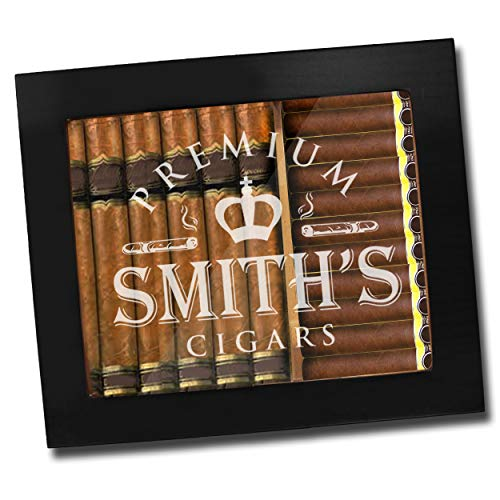 Custom Personalized Premium Cigar Humidor Box with Hygrometer, Humidifier and Glass Top - Engraved Wood Cigar Box Gift Set (Black Matte)